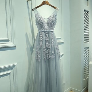 Charming hot Women Dress A-Line V-Neck Sleeveless Elegant Embroidery Long Prom Dress Evening Dress 4 Colors