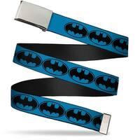 Blank Chrome  Buckle Bat Signal 3 Blue Black Blue Webbing Web Belt