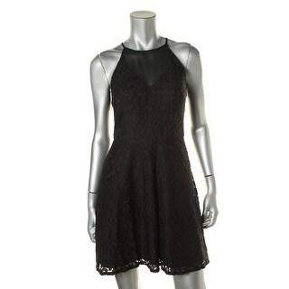 Aidan Womens Lace Chiffon Cocktail Dress