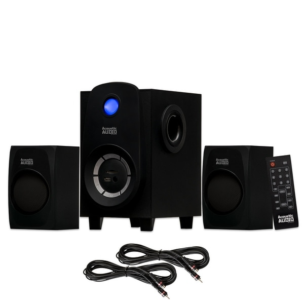 Acoustic Audio AA2107 Bluetooth Home 2.1 Speaker System with USB & 2 Ext. Cables