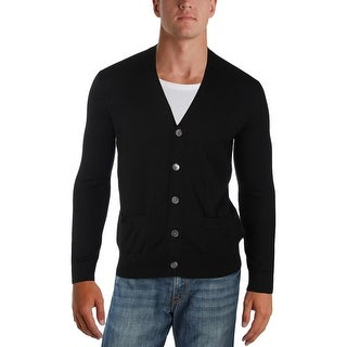 Polo Ralph Lauren Mens Cardigan Sweater Merino Wool Faux Suede - S