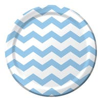 Club Pack of 192 Pastel Blue Chevron Pattern Paper Party Dinner Plates 9'