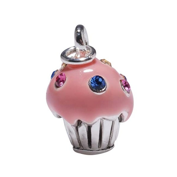 Silver Plated Pink Cupcake Charm Adorned With SWAROVSKI ELEMENTS Crystal Sprinkles 15mm (1)