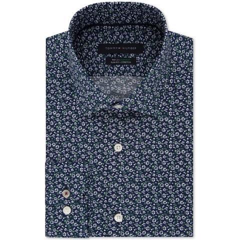 Tommy Hilfiger Mens Floral Print Button Up Dress Shirt