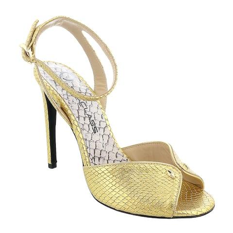 Roberto Cavalli Class Gold Opent Toe High Heel Sandal-