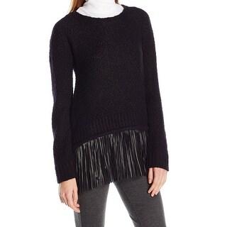 T Tahari NEW Black Womens Size Medium M Fringe-Hem Scoop Neck Sweater