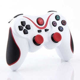 Wireless Bluetooth Game Controller for Sony PS3 White + Red Stripe