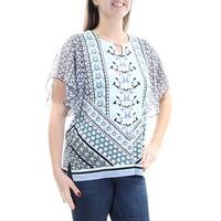 Womens Aqua Short Sleeve Keyhole Top  Size  M
