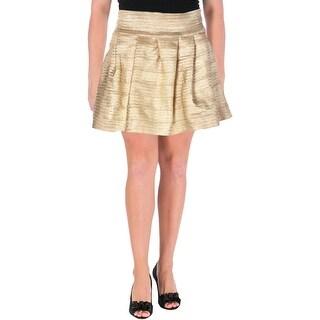Aqua Womens Pleated Skirt Metallic Bandage (Option: Gold)