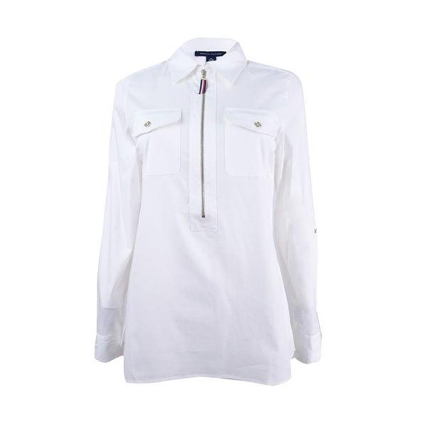 fd7a35a8c7 Shop Tommy Hilfiger Women's Zip-Front Utility Shirt - On Sale - Free ...