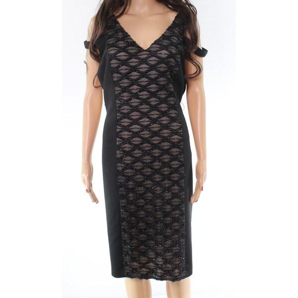 Connected Apparel Black Sheer Fringe Off-Shoulder 14 Sheath Dress