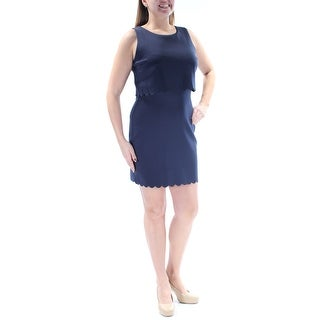 Womens Navy Sleeveless Above The Knee Party Dress Size: 11
