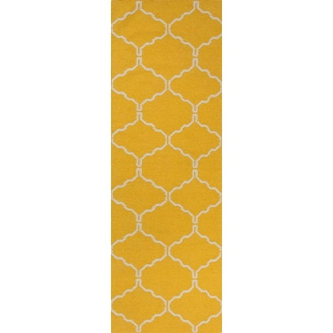 2.5' x 8' Sunglow and Snow White Delphine Flat Weave Geometric Pattern Wool Area Throw Rug Runner