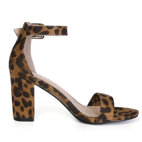 Women Open Toe Block Heel Printed Ankle Strap Sandals