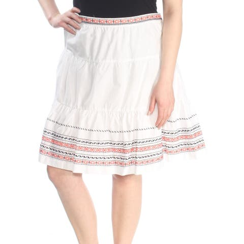 TOMMY HILFIGER Womens White Knee Length A-Line Skirt Size 16
