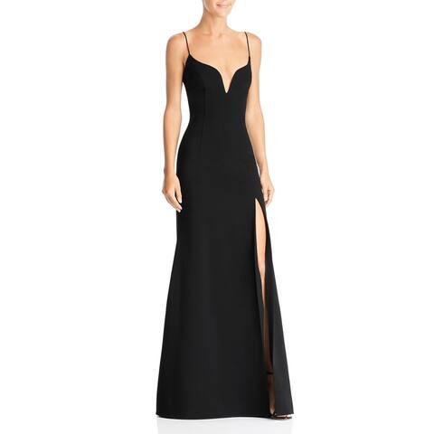 Jill Jill Stuart Women's Dress Black Size 12 High-Slit Plunge Gown