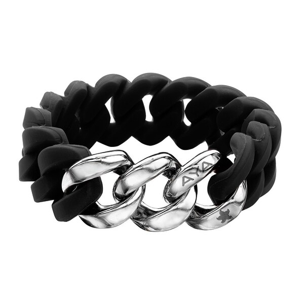 Silix by Aya Black Silicon Bracelet with Sterling Silver-Plated Stainless Steel - White