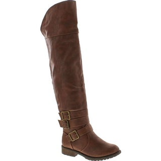 Nature Breeze Womens Angelica-02H Over The Knee Round Toe Riding Boot - Tan