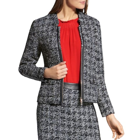 Basler Womens Blazer Tweed Faux Trim - Black-White