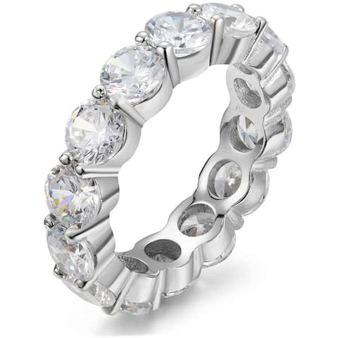 5.0mm 925 Cubic Zirconia Eternity Engagement, Wedding Band Ring