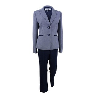 Le Suit Women's Tweed Two-Button Pantsuit - NAVY/WHITE