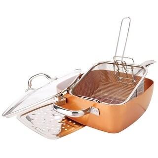 5 Pc. Non-Stick Oven Safe Casserole Pan Set - Induction Copper