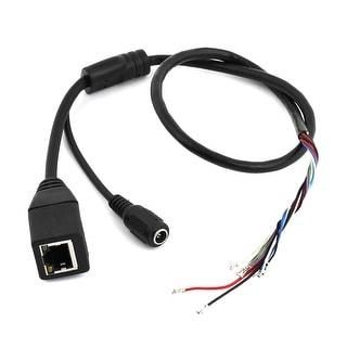 Unique Bargains Black 2Ft Long RJ45 CCTV 8 Pin Female Port w DC 5.5mmx2.1mm Female Socket Cable