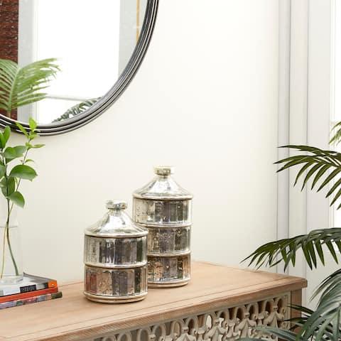 Grey Glass Vintage Decorative Jar (Set of 2) - 6 x 6 x 12
