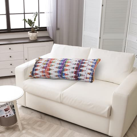 White and Multicolored Chindi Chevron Throw Pillow
