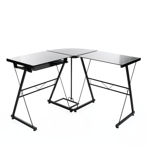 L-Shaped Corner Computer Desk in Black Glass,Workstation with Pull-out Keyboard