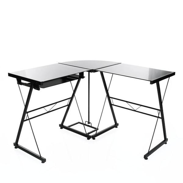 l shaped corner computer desk in black glass workstation with pull out keyboard free shipping. Black Bedroom Furniture Sets. Home Design Ideas