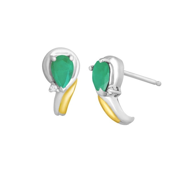 3/4 ct Natural Emerald Earrings with Diamonds in Sterling Silver & 14K Gold - Green