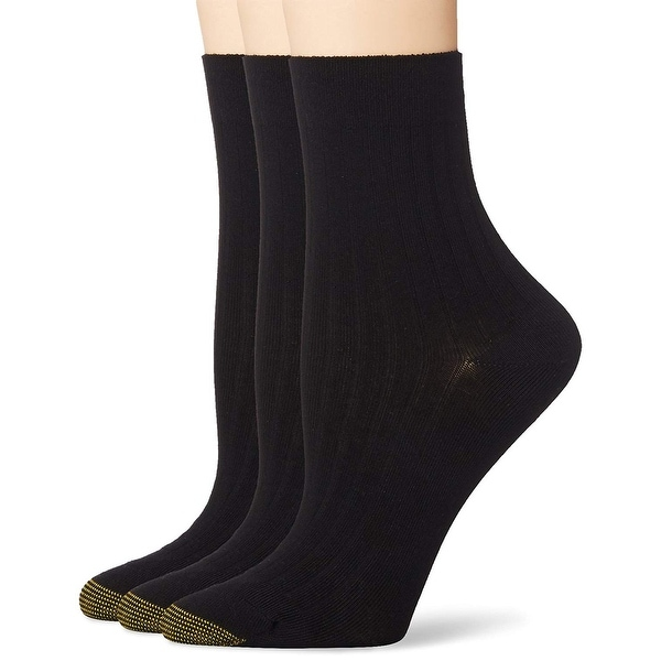 9-11 Casual GOLD TOE Women/'s 6 Pack Ribbed Crew Socks Black//Grey Assorted