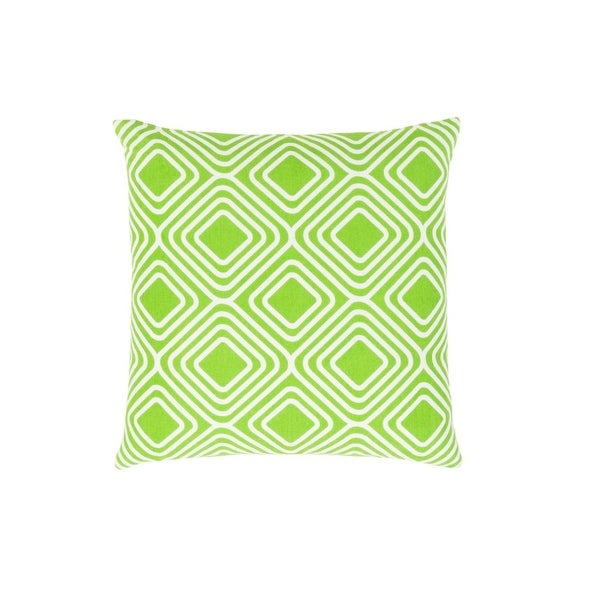 """22"""" Apple Green and White Woven Contemporary Patterned Decorative Throw Pillow-Down Filler"""