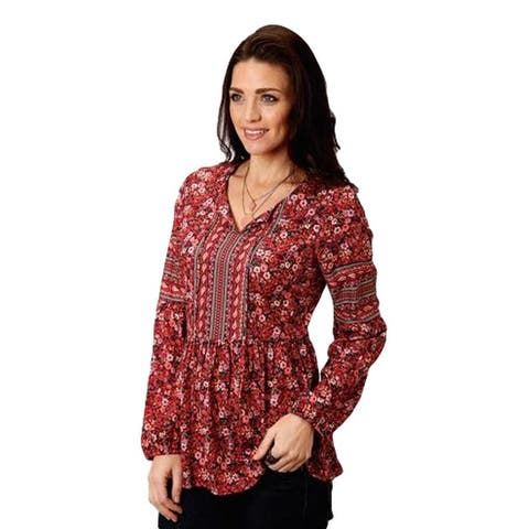 Roper Western Shirt Womens L/S Pull Over Red