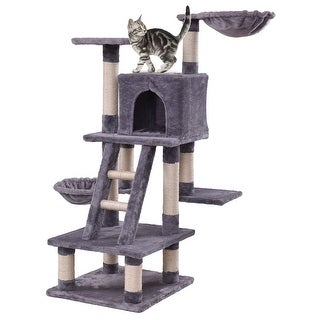 Gymax 46'' Cat Tree Kitten Pet Play House Furniture Condo Scratching Posts Rope Ladder - gray