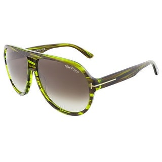 Tom Ford FT0464/S 98K TRUMAN Shiny Green Havana Aviator sunglasses