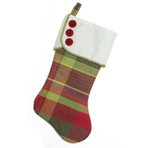 "19"" Multi-Color Plaid Christmas Stocking with Green and Yellow Trim and Red Buttons"