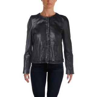 MaxMara Womens Albano Leather Fringe Jacket - 4