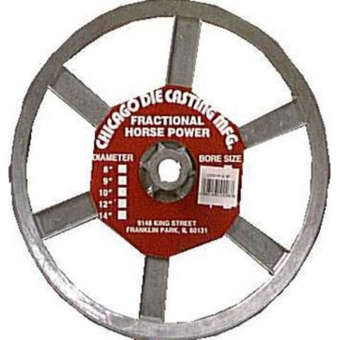 """Chicago Die Casting 1000A6 Single V Grooved Pulley, 10"""" x 5/8"""""""