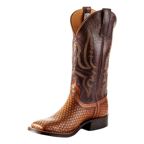 Anderson Bean Western Mens Boots Tooled Pull On Wheat Basket