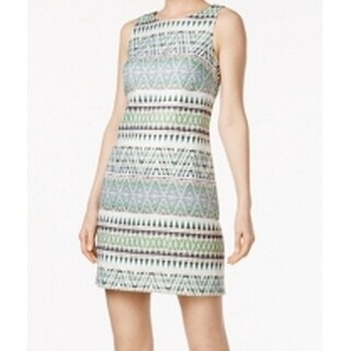 Vince Camuto Green Womens Size 4 Jacquard Shimmer Shift Dress