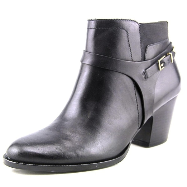 Ivanka Trump Tasse Women Round Toe Leather Black Ankle Boot