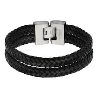 Inox Mens Black Leather Bracelet 8 1/4 inch long