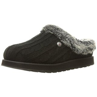 Skechers Womens Keepsakes Ice Angel Clog Slippers Cable Knit Faux Fur