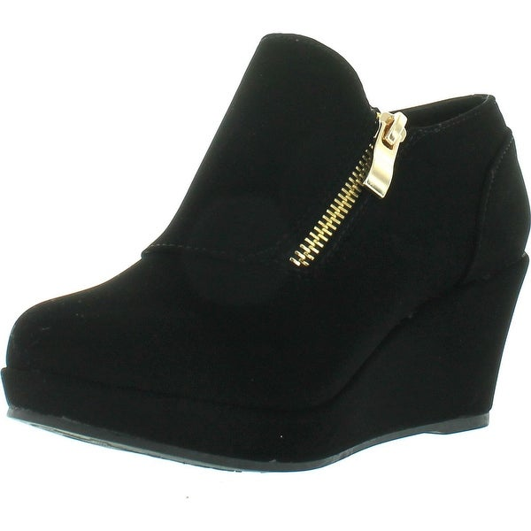Lucky Top Rita-2K Children Girl's Comfort Platform Wedge Heel Ankle Booties - Black