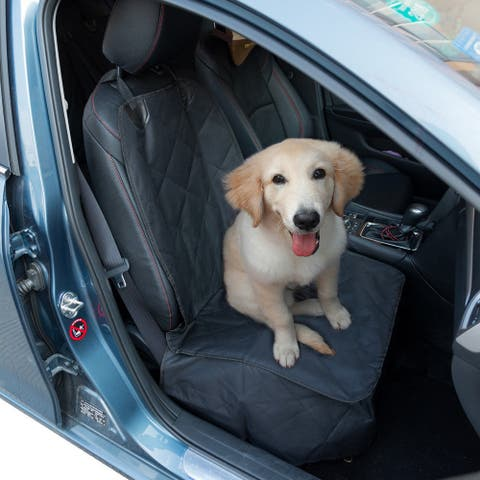 Gymax Black Waterproof Pet Front Seat Cover For Cars Nonslip Rubber