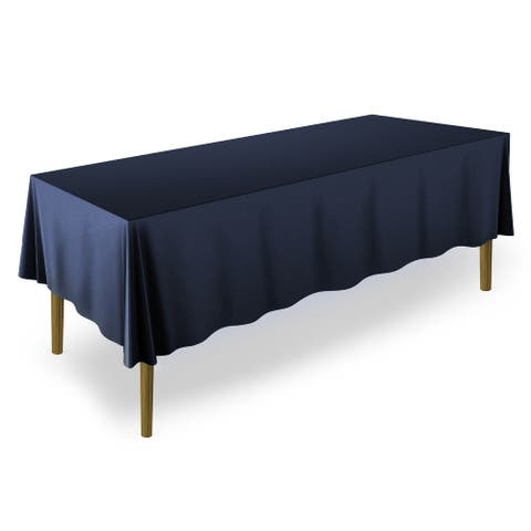 "5 Premium 60"" x 102"" Polyester Tablecloths for Weddings, Navy - 60 x 102 inches"