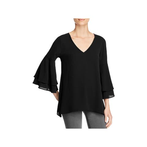 Status by Chenault Womens Blouse Bell Sleeves V-Neck