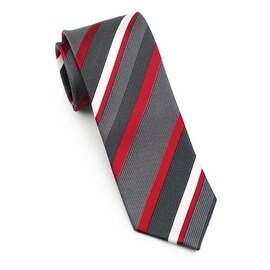 Men's 100-percent Silk Black, Red Striped Tie